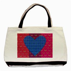 Butterfly Heart Pattern Basic Tote Bag by Simbadda