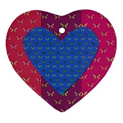 Butterfly Heart Pattern Heart Ornament (two Sides) by Simbadda