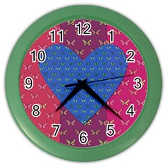 Butterfly Heart Pattern Color Wall Clocks by Simbadda