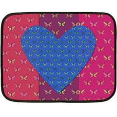 Butterfly Heart Pattern Fleece Blanket (mini) by Simbadda