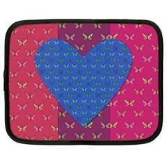 Butterfly Heart Pattern Netbook Case (xl)  by Simbadda