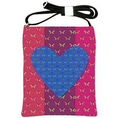 Butterfly Heart Pattern Shoulder Sling Bags by Simbadda