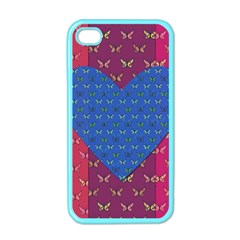 Butterfly Heart Pattern Apple Iphone 4 Case (color) by Simbadda