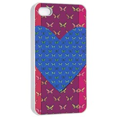 Butterfly Heart Pattern Apple Iphone 4/4s Seamless Case (white) by Simbadda