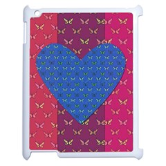 Butterfly Heart Pattern Apple Ipad 2 Case (white) by Simbadda
