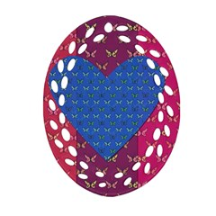 Butterfly Heart Pattern Oval Filigree Ornament (two Sides) by Simbadda