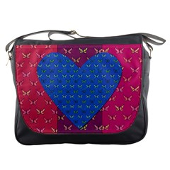 Butterfly Heart Pattern Messenger Bags by Simbadda