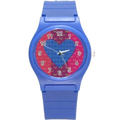 Butterfly Heart Pattern Round Plastic Sport Watch (s) by Simbadda