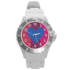 Butterfly Heart Pattern Round Plastic Sport Watch (l)