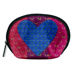 Butterfly Heart Pattern Accessory Pouches (medium)  by Simbadda