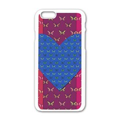 Butterfly Heart Pattern Apple Iphone 6/6s White Enamel Case by Simbadda