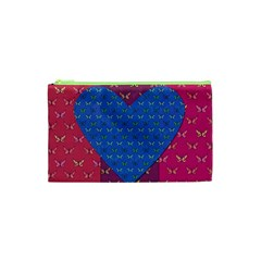 Butterfly Heart Pattern Cosmetic Bag (xs) by Simbadda