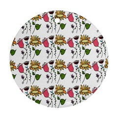 Handmade Pattern With Crazy Flowers Ornament (round) by Simbadda