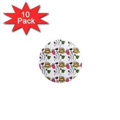 Handmade Pattern With Crazy Flowers 1  Mini Magnet (10 Pack)  by Simbadda