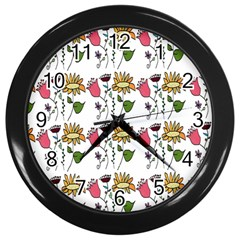 Handmade Pattern With Crazy Flowers Wall Clocks (black) by Simbadda
