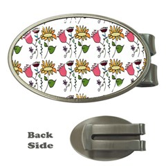 Handmade Pattern With Crazy Flowers Money Clips (oval)  by Simbadda