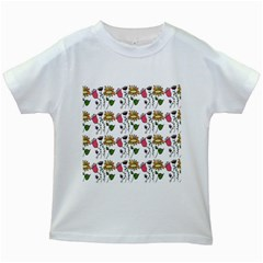 Handmade Pattern With Crazy Flowers Kids White T Shirts by Simbadda