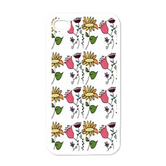 Handmade Pattern With Crazy Flowers Apple Iphone 4 Case (white) by Simbadda