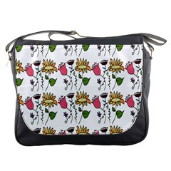 Handmade Pattern With Crazy Flowers Messenger Bags by Simbadda