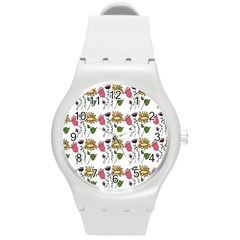 Handmade Pattern With Crazy Flowers Round Plastic Sport Watch (m) by Simbadda