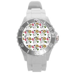 Handmade Pattern With Crazy Flowers Round Plastic Sport Watch (l)