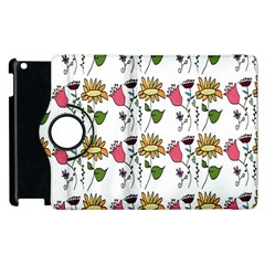 Handmade Pattern With Crazy Flowers Apple Ipad 2 Flip 360 Case by Simbadda