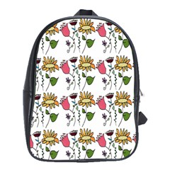 Handmade Pattern With Crazy Flowers School Bags (xl)  by Simbadda