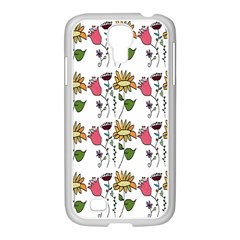 Handmade Pattern With Crazy Flowers Samsung Galaxy S4 I9500/ I9505 Case (white)