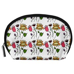 Handmade Pattern With Crazy Flowers Accessory Pouches (large)  by Simbadda