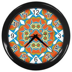 Digital Computer Graphic Geometric Kaleidoscope Wall Clocks (black)