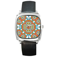 Digital Computer Graphic Geometric Kaleidoscope Square Metal Watch