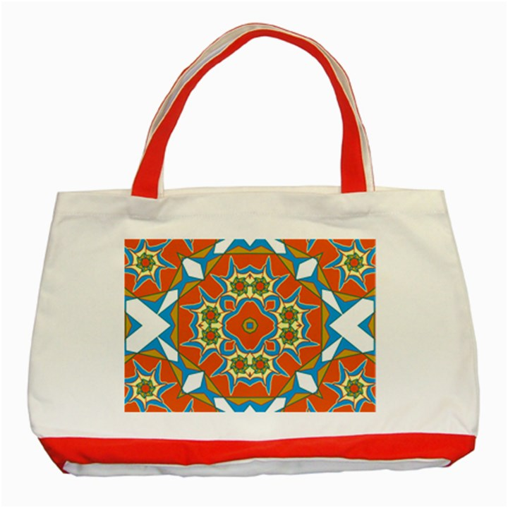 Digital Computer Graphic Geometric Kaleidoscope Classic Tote Bag (Red)