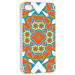 Digital Computer Graphic Geometric Kaleidoscope Apple Iphone 4/4s Seamless Case (white)