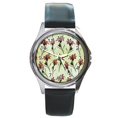 Vintage Style Seamless Floral Wallpaper Pattern Background Round Metal Watch by Simbadda