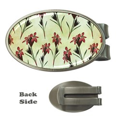 Vintage Style Seamless Floral Wallpaper Pattern Background Money Clips (oval)  by Simbadda