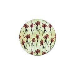 Vintage Style Seamless Floral Wallpaper Pattern Background Golf Ball Marker by Simbadda
