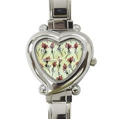 Vintage Style Seamless Floral Wallpaper Pattern Background Heart Italian Charm Watch by Simbadda