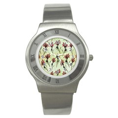 Vintage Style Seamless Floral Wallpaper Pattern Background Stainless Steel Watch by Simbadda
