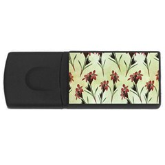 Vintage Style Seamless Floral Wallpaper Pattern Background Usb Flash Drive Rectangular (4 Gb) by Simbadda
