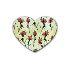 Vintage Style Seamless Floral Wallpaper Pattern Background Rubber Coaster (heart)  by Simbadda