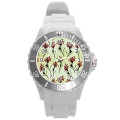 Vintage Style Seamless Floral Wallpaper Pattern Background Round Plastic Sport Watch (l)