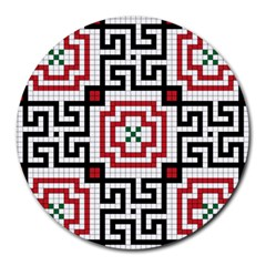 Vintage Style Seamless Black, White And Red Tile Pattern Wallpaper Background Round Mousepads by Simbadda