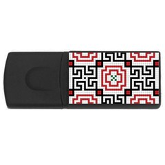 Vintage Style Seamless Black, White And Red Tile Pattern Wallpaper Background Usb Flash Drive Rectangular (4 Gb) by Simbadda