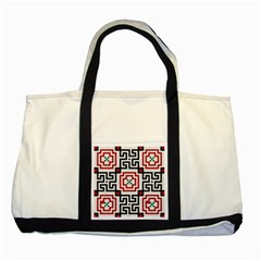 Vintage Style Seamless Black, White And Red Tile Pattern Wallpaper Background Two Tone Tote Bag by Simbadda