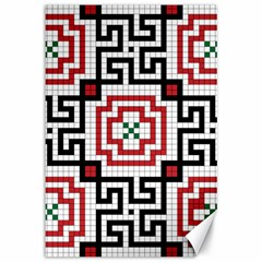 Vintage Style Seamless Black, White And Red Tile Pattern Wallpaper Background Canvas 12  X 18