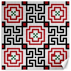 Vintage Style Seamless Black, White And Red Tile Pattern Wallpaper Background Canvas 16  X 16