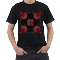 Vintage Style Seamless Black, White And Red Tile Pattern Wallpaper Background Men s T Shirt (black)