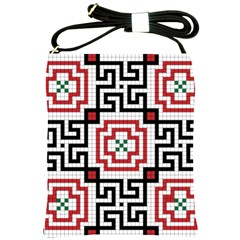 Vintage Style Seamless Black, White And Red Tile Pattern Wallpaper Background Shoulder Sling Bags