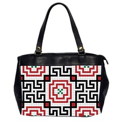 Vintage Style Seamless Black, White And Red Tile Pattern Wallpaper Background Office Handbags (2 Sides)  by Simbadda