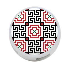 Vintage Style Seamless Black, White And Red Tile Pattern Wallpaper Background 4 Port Usb Hub (one Side)